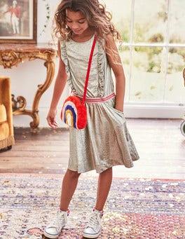 Metallic Ruffle Detail Dress