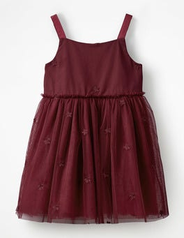 Deep Red Star Tulle Party Dress