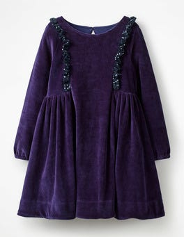 Sparkly Trim Velour Dress