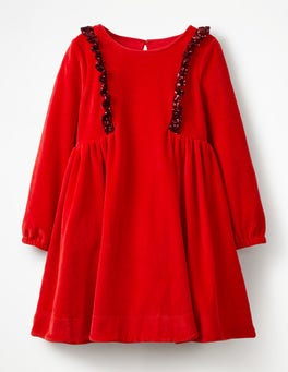 Polish Red Sparkly Trim Velour Dress