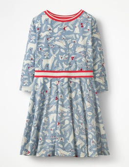 Boathouse Blue Woodblock Printed Jersey Ballerina Dress