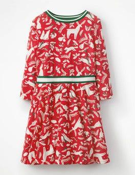 Polish Red Woodblock Printed Jersey Ballerina Dress