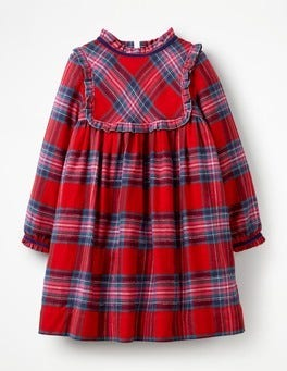 Engine Red/Pop Pink Check Festive Woven Check Dress