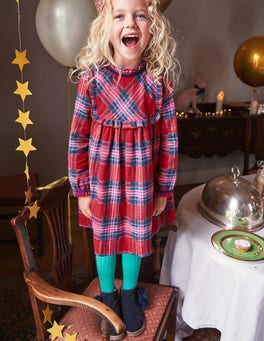 Festive Woven Check Dress