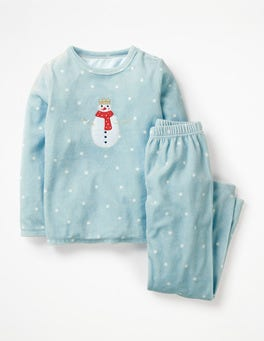 Ice Blue/Ecru Confetti Spot Velour Pyjama Set