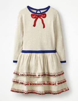 Ecru Marl Knitted Party Dress