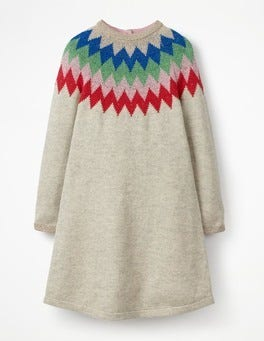 Grey Marl/Rainbow Sparkly Knitted Dress