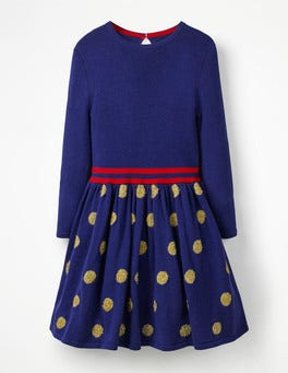 Prussian Blue/Gold Spots Metallic Spot Knitted Dress