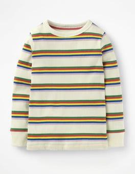 T-shirt côtelé à rayures