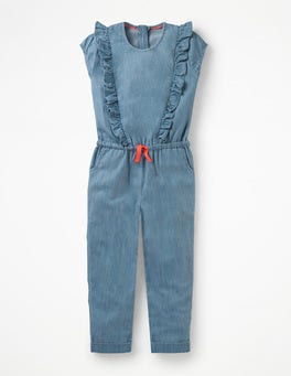 Indigo Chambray Frilly Woven Jumpsuit