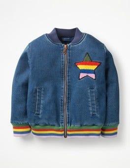 Mid Vintage/Rainbow Star Jersey Denim Bomber Jacket