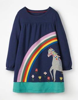 Dunkelblau, Pferd Kleid mit großer Applikation
