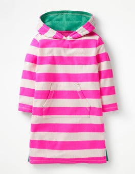 Festival Pink/Ivory Stripy Towelling Beach Dress