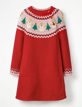 Polish Red Snowmen Fair Isle Knitted Dress