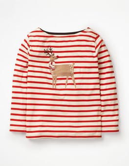 Ivory/Post Box Red Reindeer Bold and Bright Breton