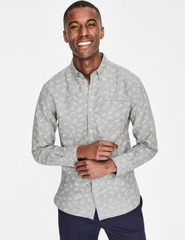 Grey Marl Floral Oxford Shirt