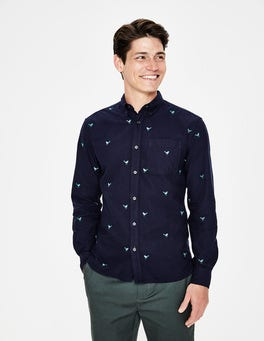Navy Bird Embroidery Oxford Shirt