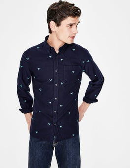 Navy Bird Embroidery Slim Fit Oxford Shirt
