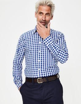 Blue Wave Clip Dot Poplin Pattern Shirt