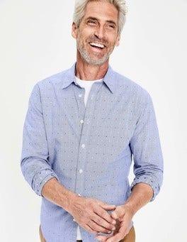Multi Clip Dot Slim Fit Poplin Pattern Shirt