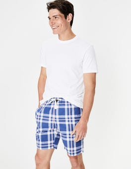 Summer Blues Check Cotton Poplin Lounge Shorts