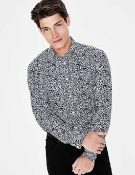 Navy Floral Printed Twill Shirt