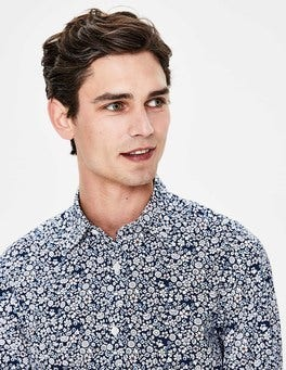 Navy Floral Slim Fit Printed Twill Shirt