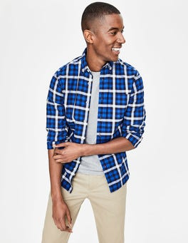Blues Gingham Slim Fit Casual Twill Shirt