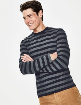 Navy/London Grey Stripe Long Sleeve Stripe T-shirt