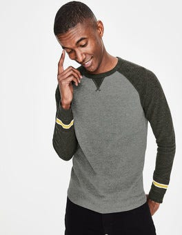 Grey Marl Colourblock Long Sleeve Waffle Raglan