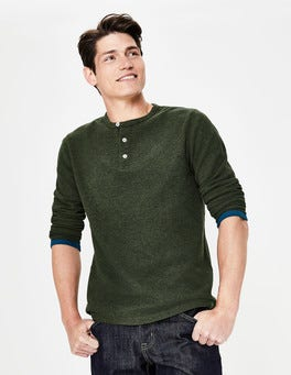 Ghillie Green Marl Long Sleeve Waffle Henley