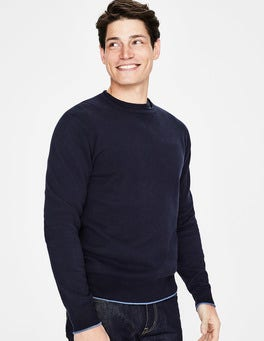 Navy Cotton Cashmere Crew Neck