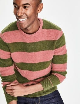 Washed Berry/Ghillie Green Textured Crew Neck