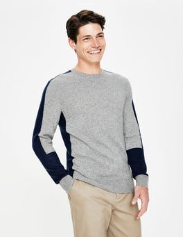 Grey Marl Colourblock Cashmere Crew Neck