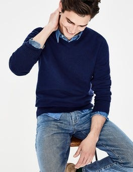 Bright Navy Cashmere V-neck