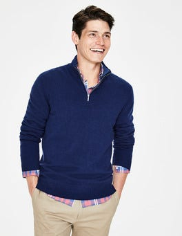 Bright Navy Cashmere Half-Zip