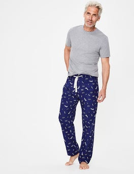 Navy London Print Cotton Poplin Pull-ons
