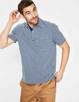 Sandown Blue/Ivory Stripe Slub Polo