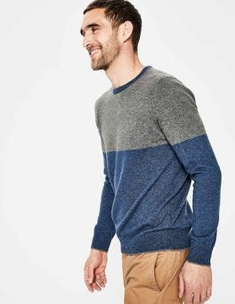Denim Colourblock Cashmere Crew Neck