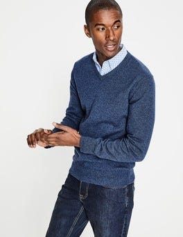 Denim Cashmere V-neck