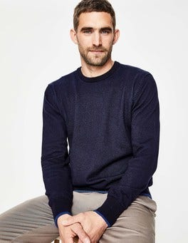 Navy Plaited Crew Neck
