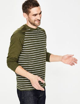 Pine Green Colourblock Long Sleeve Slub Raglan