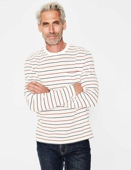 Beatnik Red Multi Stripe Long Sleeve Piqué Crew