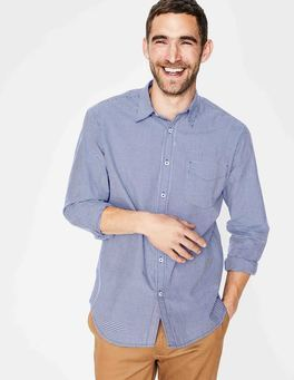 Navy Micro Gingham Poplin Pattern Shirt