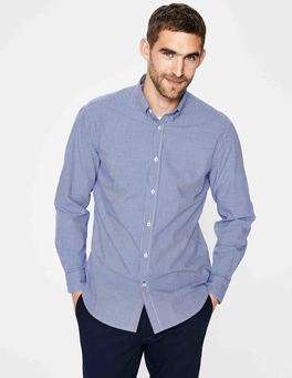Navy Micro Gingham Slim Fit Poplin Pattern Shirt