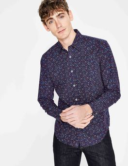 Navy Garden Floral Slim Fit Floral Printed Shirt