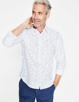 Blues Linear Floral Linen Cotton Pattern Shirt