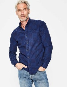 Navy Engineered Gingham Slim Fit Casual Poplin Shirt