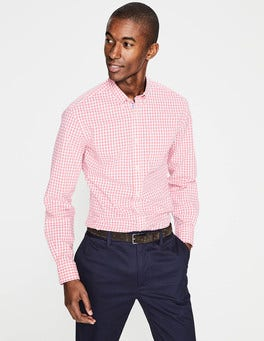 Rosette Pink Gingham Slim Fit Casual Poplin Shirt