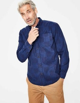 Navy Engineered Gingham Casual Poplin Shirt